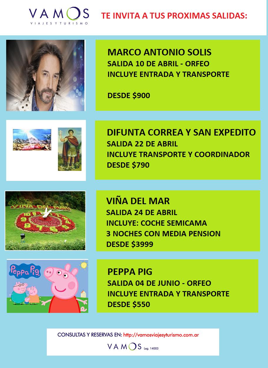 PROXIMAS SALIDAS 01ABR2016